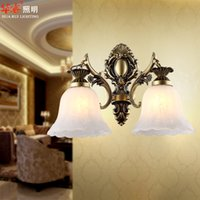 bedside lamp base - European style Retro wrought iron sconces Lighting Fashion Rustic Chandelier E27 base Wall Lamp wall sconce bedside glass lampshade