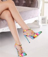 Wholesale Color sexy party shoes summer rivet clasp pointed toe pumps women high heels PROM dress shoes
