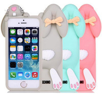 Wholesale 3D Cute Cartoon cases Bunny Buck teeth rabbit soft Silicone Case For iPhone Plus S S Rabbit Cute Silicone case Cover