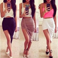 Wholesale 2014 Women Bodycon Skirt Irregular Low Waist Sexy Slim Hip Skirts Summer Pencil Skirts Women Clothing Plus Size S M L XL