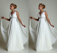 Wholesale Long White Grecian Dress - Boho Wedding Dresses 2016 Long Chiffon Grecian Beach Maternity Wedding Gowns Sexy V-neck Beads Ruffles Formal Dress New Arrival