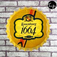Wholesale 35 cm K highly quality beer bottle cap Sign Bar pub home Wall Decor Retro Metal Art Poster