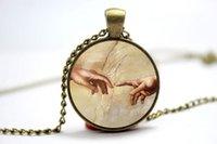 art sistine chapel - 10pcs The Creation of Adam Necklace Michelangelo Art Pendant Sistine Chapel Glass Cabochon Necklace