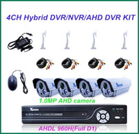 Wholesale 4CH CCTV System AHDL H Full D1 DVR Kit Hybrid DVR NVR AHD IN MP AHD CMOS outdoor IR CCTV camera waterproof Security camera System