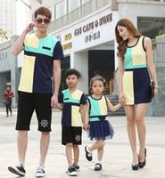 t-shirt dresses - Fashion Family Set Lovers Family Patchwork Clothes Vest Dress for mother and daughter T shirt Clothes for father and son CHH58
