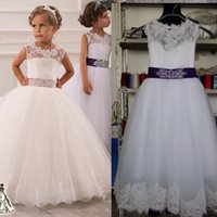 Girl black and white flower girl dresses - 2015 Flower Girl Dresses Real Photos with Keyhole Back and Lace Top and Puffy Princess Skirt