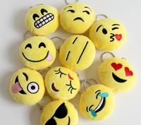 bag for keys - QQ emoji plush pendant Key Chains Emoji Smiley Emotion Yellow QQ Expression Stuffed Plush doll toy for Mobile bag pendant