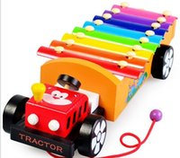 Wholesale Early Education wooden toy Notes Xylophone Tractor Musical Instrument Push Along Enlightenment Toy Birthday present gift development toy