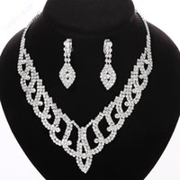 Wholesale Crystal Beautiful Wedding Jewelry Sets Shiny Austrian Crystal Zircon Necklace Drop Earrings Wedding Bridal Jewelry Sets for Women CDS010