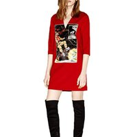 bell space - Women V neck three quarter sleeve astronaut pattern dress vintage outer space warm dress Vestidos casual straight dress QZ2281 F