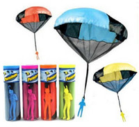 Wholesale Toy Skydiver Parachute With Figure Soldier Kids Children Outdoor Play Game Colors Assorted