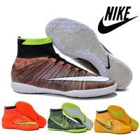 Nike mercurial Superfly Elastico IC Hommes Soccer intérieur Chaussures de football Bottes Crampons Laser 100% chaussures pour hommes d'origine Chaussures de soccer Footba