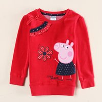 Wholesale nova girls clothes fashion autumn winter baby long sleeve t shirts red velour hot peppa pig embroidery t shirt manufacturers F5665D