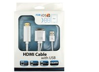 Wholesale HDMI Cable with USB support iOS6 iOS7 iOS8 to HDTV Adapter Compatible for Apple iPhone S Ipad3 Ipad2 iPod with