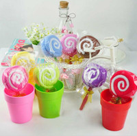 Wholesale 20 cm cotton towel color cloth cute lollipop towel cake gift baby shower birthday favor and gift