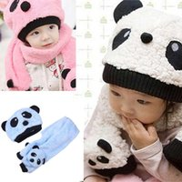 Wholesale Fashion Soft Toddler Baby Girl Boy Cap Cute Panda Kids Hat Scarf Set Keep Warm Support Mixed Colors Drop Ship
