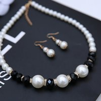 Wholesale New infinity Pearl necklaces Women Europe suits classic black and white with Pearl fashion jewelry faux Pearl Necklace earrings set