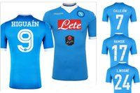 Wholesale NAPOLI JERSEYS SOCCER HOME BLUE HIGUAIN THAI QUALITY NAPOLI JERSEY CALLEJON HAMSIK L INSIGNE MEN S FOOTBALL SHIRT