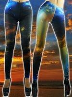 gothic - New Women Sexy Blue Galaxy Digtal Print Gothic Rock Legging Punk Fitness Woman Pants