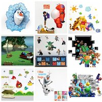 Wholesale DHL Ship Mix Order Removable Cartoon Wall Stickers for Kids Nusery Rooms Decorative Wall Decals Home Movie Wallpaper Wall Art d Window