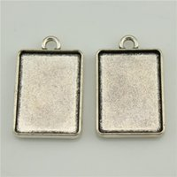 Wholesale 100pcs mm Antique Silver Color Square Shape Double Sided Cameo Cabochon Base Setting DIY Jewelry