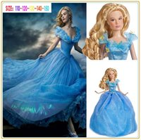 party costumes - 2015 New Cinderella Deluxe Dress Baby Girls Princess Cosplay Costume Party Dress Girls Dress Cinderella Costume For Kids