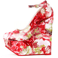 adhesive images - Printing Floral Thick Platform Pumps Dress Shoes Ankle Strap Ankle Strap Round Toe Women Shoes Wedge Heel Women Real Image Wedge Pumps