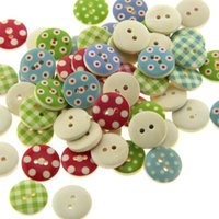 Wholesale 200 Mixed Multicolor mm polka dot small polka dot rustic plaid handmade diy accessories small wooden buttons Sewing Notions