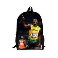 Wholesale Evolution Usain Bolt Print Men Backpack Super Sports Stars High Student College School Bag metre dash Star Backpack