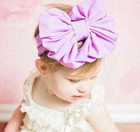 Wholesale NEW Kids Girls Big Bow Headwrap Baby girl Cotton Headbands infant babies fashion hairbands lovely hair accessories