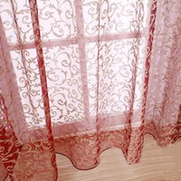 Wholesale Hot Elegant and Romantic Curtain Voile Window Curtain for Door Window Fashion Window Screening Pastoral Curtains Bedroom Decor