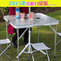 Wholesale Upgrade to outdoor aluminum alloy fission folding tables and chairs portable field vehicle mounted mobile mahjong table