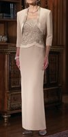 best of best - Best Selling New Long Column Champagne Mother of the Bride Dresses with Jacket Sleeve Straps Beads Lace Chiffon Party Gowns