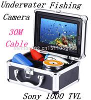 """30M Cable HD SONY CCD 600 líneas de TV 7 """"TFT LCD a color de la cámara bajo el agua Pesca CCTV cámara de vídeo de la caja de aluminio de la cámara"""