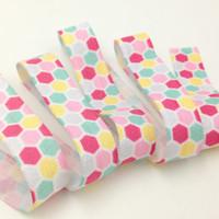 Wholesale 100Y Polka Dot Print Fold Over Elastic FOE Elastic Webbing Elastic Ribbon for DIY Headwear Baby Headband