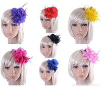 Wholesale womens Mini Feather flower Top Hat Cap clips Lace Fascinator Hair Clip Costume hair Accessories for wedding party Colors