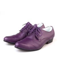 Wholesale Purple Groom Wedding Shoes Man Breathe freely Leather Prom Shoes Business Dress Shoe Single shoes DY