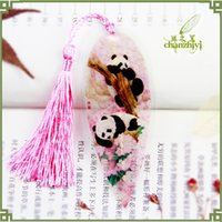 Wholesale 9 Style Lovely Fine Unique Chinese National Treasure Cute Panda Bookmark Natrueal Leaf Veins Book Mark Unique Great Christmas Gift Mix