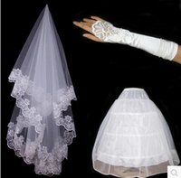 add balls - Bride computer embroidery veil Satin Lace Gloves ring yarn added panniers bride wedding dress three piece suit