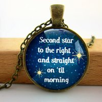 ball quote - Q Peter Pan Second Star necklace quote in circle glass pendant included ball chain