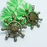 word charms - 15Pcs x35mm Antique Bronze Tone Rudder Or Boat Wheel Pendant with Word One Piece Charms