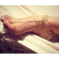 Cheap Personality Beach Foot Jewelry Multi-layer Chain Tassel Ankle Bracelet Anklet