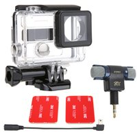 Wholesale STEREO Stereo Mic Microphone with mm Micro Adapter Cable Connectable Side Open Protective Housing Case For GoPro Hero