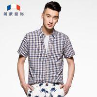 bamboo code - Langmeng new summer shirt sleeve shirt Mens Casual semi male body decoration code of bamboo fiber shirt
