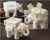 Wholesale 2015 New Lucky Elephant Candles Holder Tea Light Candles Holder for wedding party table decorations supplies with gift box