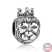 lion charms - 925 Sterling Silver King Of The Jungle Lion Charms Beads Fit Snake Chain Bracelet DIY Fashion Jewelry Valentine Gift DCBJ444