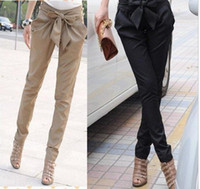 high waist pants - 2015 high waist harem pants for women fashion hot women s Skinny Long Trousers OL casual Bow harem pants plus size Black Khaki office pants