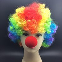Short halloween masks clown - Funny Clown Costume Halloween Mask Red Nose Colorful Clown Wig Set Carnival Jolly Costume Masquerade Party Masks hot selling