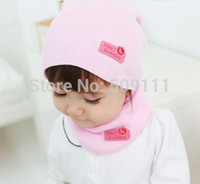 winter hat scarf and glove set - Retail Fashion Winter Cap Baby Girls Boys Warm Hat with ring scarf Children Hat and Scarf set set H346