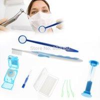 Promoción 10packs Dental Cuidado Oral Limpie las herramientas de ortodoncia Kit Cepillo de dientes Cepillo interdental Boca Espejo Floss